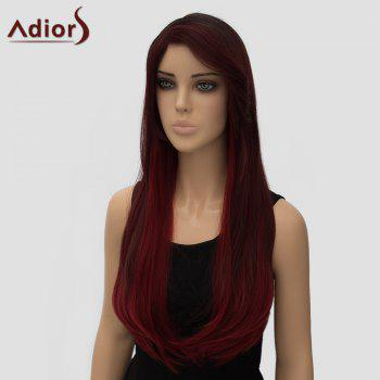 Vogue Two-Tone Ombre Long Side Parting Straight Tail Adduction Women's Synthetic Adiors Wig - OMBRE