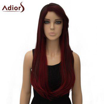 Vogue Two-Tone Ombre Long Side Parting Straight Tail Adduction Women's Synthetic Adiors Wig