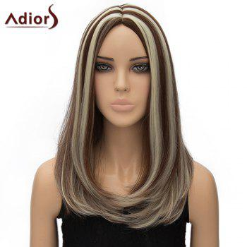 Vogue Long Brown Mixed Off-White Synthetic Straight Tail Adduction Middle Part Adiors Wig For Women