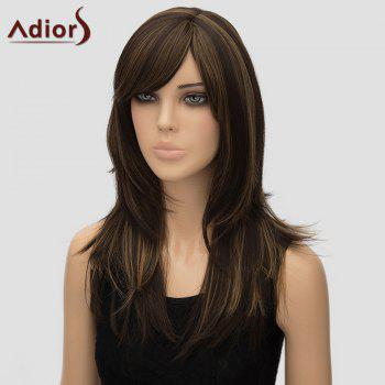 Stylish Long Layered Side Bang Synthetic Fluffy Straight Dark Brown Mixed Women's Adiors Wig - COLORMIX