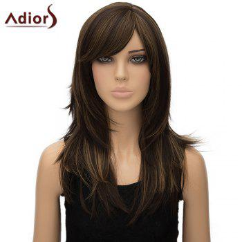 Stylish Long Layered Side Bang Synthetic Fluffy Straight Dark Brown Mixed Women's Adiors Wig