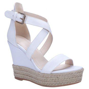 Elegant Cross Strap and Solid Color Design Women's Sandals