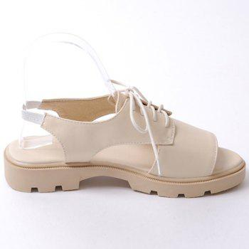 Casual Solid Color and Lace-Up Design Women's Sandals - APRICOT 39