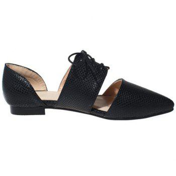 Elegant Lace-Up and Pointed Toe Design Women's Flat Shoes - 34 34
