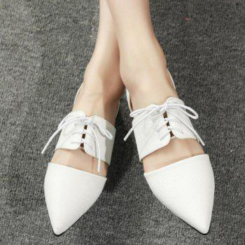 Elegant Lace-Up and Pointed Toe Design Women's Flat Shoes - 38 38