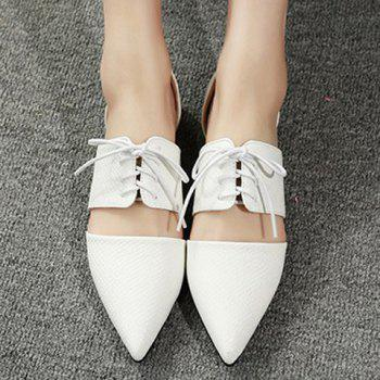 Elegant Lace-Up and Pointed Toe Design Women's Flat Shoes - WHITE WHITE