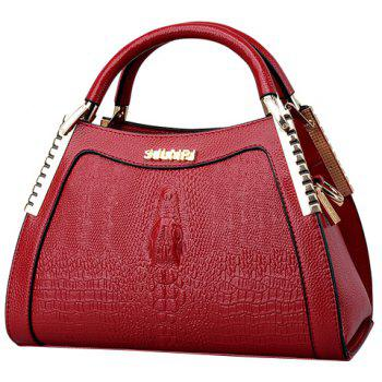 Elegant Crocodile Print and Metal Design Women's Tote Bag