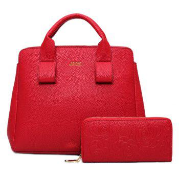 Simple Embossing and Solid Color Design Women's Tote Bag