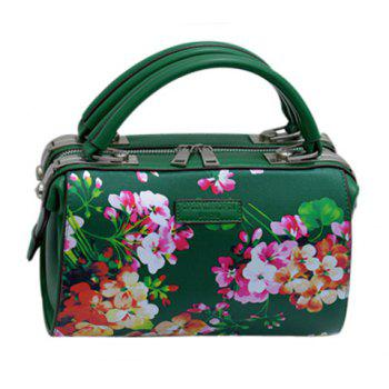 Graceful Flower Print and PU Leather Design Women's Tote Bag