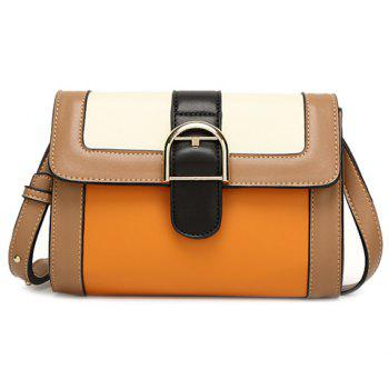 Vintage Color Block and Buckle Design Women's Crossbody Bag