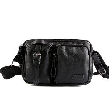 Stylish Buckle and Black Color Design Men's Messenger Bag