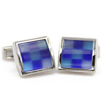Pair of Stylish Men's Checkered Pattern Square Shape Cufflinks - BLUE BLUE