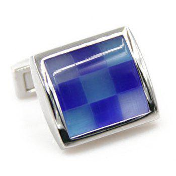 Pair of Stylish Men's Checkered Pattern Square Shape Cufflinks - BLUE