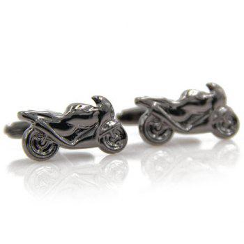 Pair of Stylish Men's Black Scrambling Motorcycle Shape Cufflinks - BLACK BLACK