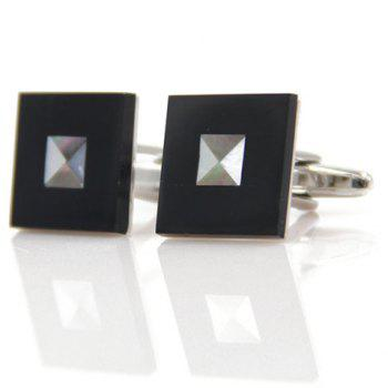 Pair of Stylish Rivet Embellished Men's Square Cufflinks -  BLACK