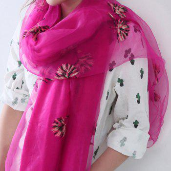Chic Dandelion Embroidery Women's Double Organza Scarf - ROSE