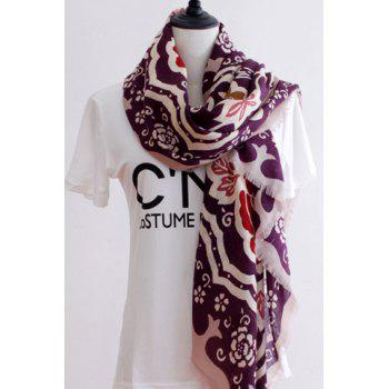 Chic Handpainted Ethnic Flowers Pattern Fringed Edge Women's Square Scarf