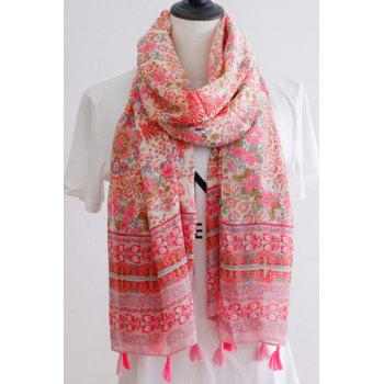 Chic Paisley and Flower Pattern Tassel Pendant Women's Scarf