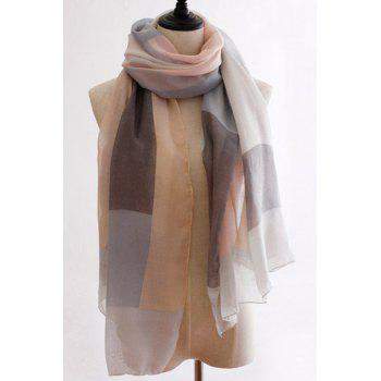 Chic Big Plaid Pattern Women's Voile Scarf