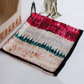 Chic Multicolor Feathers Pattern Women's Chiffon Scarf - ROSE