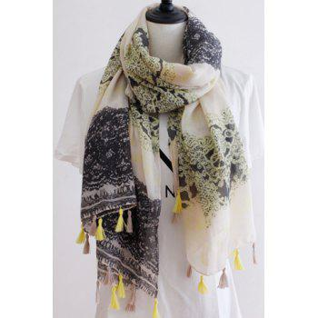 Chic Lace Pattern Tassel Pendant Women's Voile Scarf