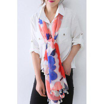 Chic Watercolour Big Flowers Pattern Tassel Pendant Women's Voile Scarf - WHITE