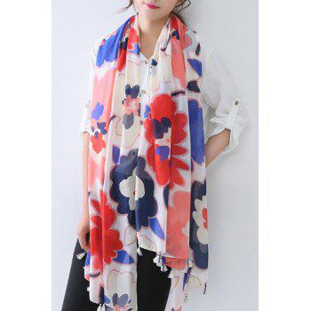 Chic Watercolour Big Flowers Pattern Tassel Pendant Women's Voile Scarf