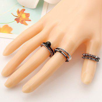A Suit of Rhinestone Rings - BLACK ONE-SIZE