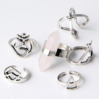 A Suit of Geometric Triangle Hollow Out Rings - SILVER ONE-SIZE