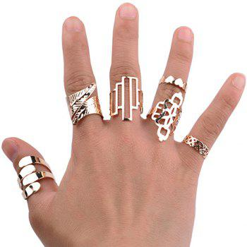 A Suit of Geometric Leaf Cuff Rings - GOLDEN ONE-SIZE