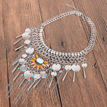 Multilayer Bead Coin Necklace - SILVER
