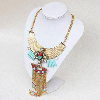 Faux Turquoise Rhinestone Bead Tassel Necklace - GOLDEN