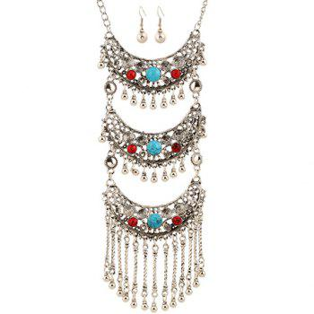 A Suit of Faux Gem Multilayer Bead Tassel Necklace and Earrings