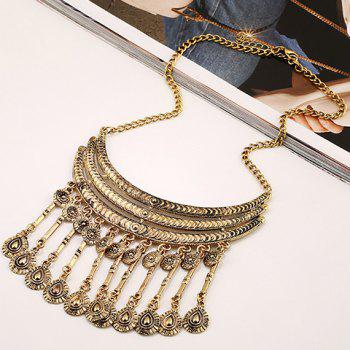 Water Drop Fringed Necklace - GOLDEN