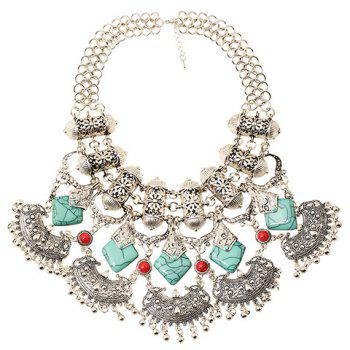 Faux Turquoise Carving Flower Bead Necklace