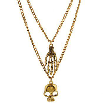 Multilayer Palm Skull Pendant Necklace