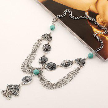 Bead Flower Hollow Out Coin Tassel Necklace - LAKE BLUE