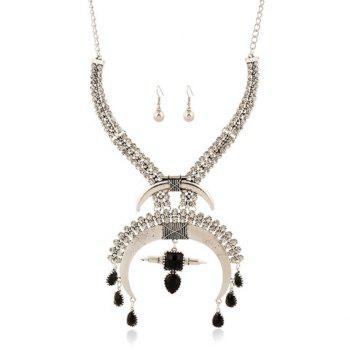 A Suit of Gorgeous Rhinestoned Moon Water Drop Tassel Necklace and Earrings For Women