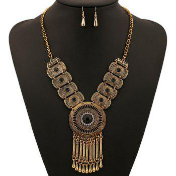 A Suit of Fake Gem Round Water Drop Fringed Necklace and Earrings - BLACK/GOLDEN