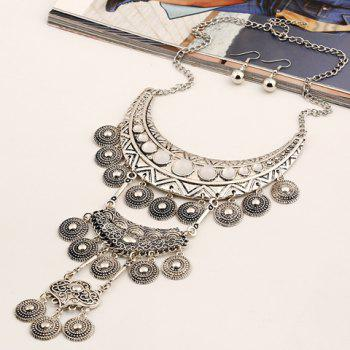 A Suit of Fake Gem Embossed Coin Necklace and Earrings