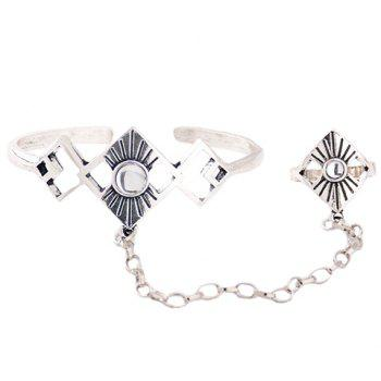 Alloy Geometric Bracelet With Ring