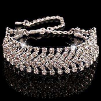 Rhinestoned Alloy Hollow Out Bracelet