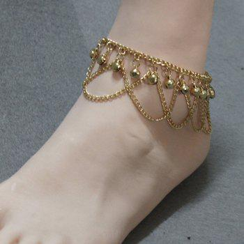 Gorgeous Solid Color Small Bell Traditional Anklets - GOLDEN GOLDEN
