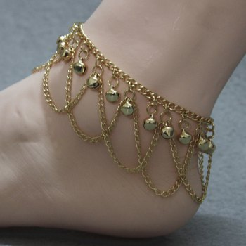 Gorgeous Solid Color Small Bell Traditional Anklets - GOLDEN