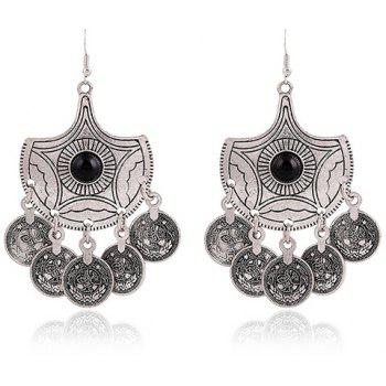 Pair of Coins Pendant Alloy Earrings