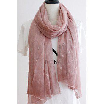 Chic Five-Pointed Stars Embroidery Solid Color Women's Voile Scarf