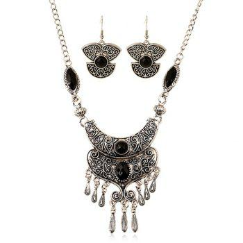 A Suit of Faux Gem Embossed Teardrop Necklace and Earrings