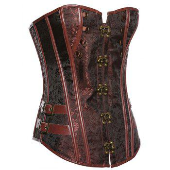 Trendy Strapless Lace-Up Spliced Button Design Women's Corset - BROWN 3XL