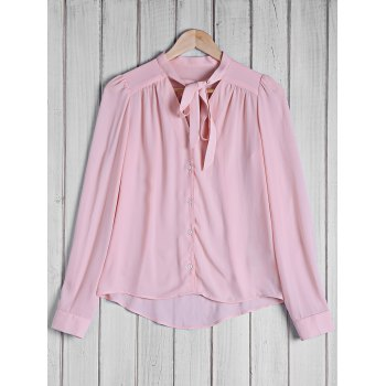 Stylish Women's Bow Tie Collar Solid Color Long Sleeve Blouse