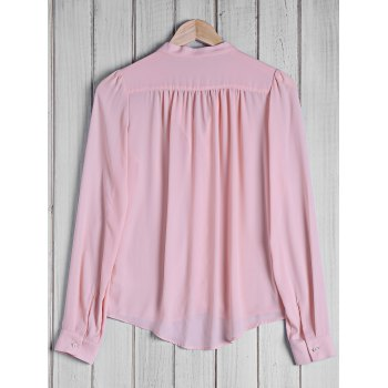 Stylish Women's Bow Tie Collar Solid Color Long Sleeve Blouse - PINK L
